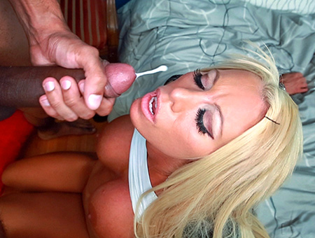 Blonde white girl swallows some big black cock
